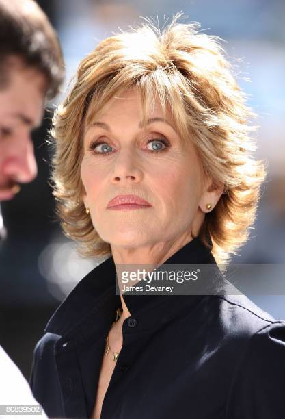 Actress Jane Fonda shoots a L'Oreal commercial on Manhattan's Upper West Side on April 23, 2008 in New York City.