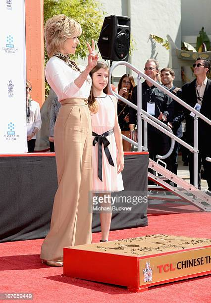 Actress Jane Fonda speaks at her Handprint/Footprint Ceremony with granddaughter Viva Vadim during the 2013 TCM Classic Film Festival at TCL Chinese...