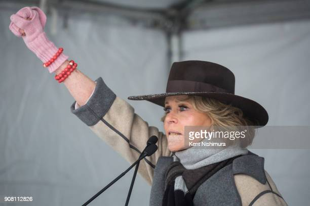 Actress Jane Fonda speaks at the Respect Rally event which honors the oneyear anniversary of the National Women's March and the #MarchOnMain event...