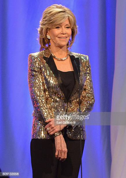 Actress Jane Fonda speaks onstage at AARP's Movie For GrownUps Awards at the Beverly Wilshire Four Seasons Hotel on February 8 2016 in Beverly Hills...