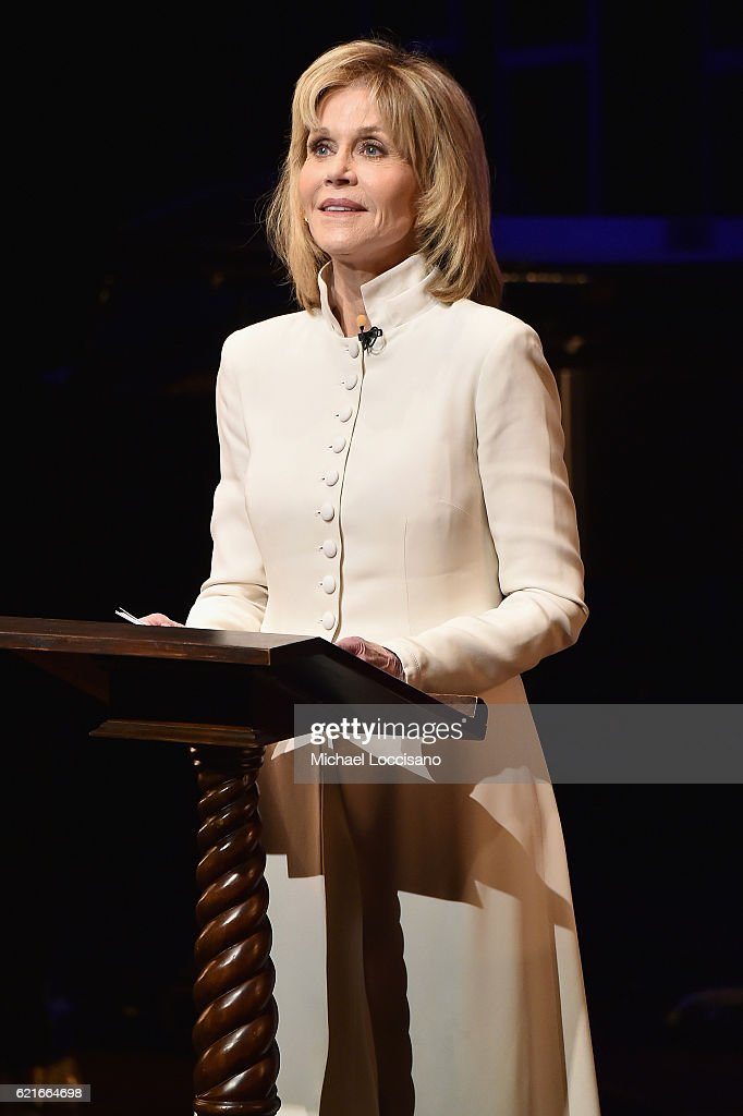 Actress Jane Fonda speaks onstage at Tectonic At 25! at the NYU Skirball Center on November 7, 2016 in New York City.