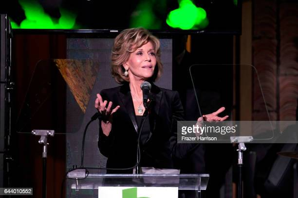 Actress Jane Fonda speaks onstage during the 14th Annual Global Green Pre Oscar Party at TAO Hollywood on February 22 2017 in Los Angeles California