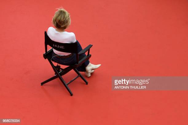 TOPSHOT US actress Jane Fonda takes part in the shooting of a promotional event on the red carpet outside the Festival's Palace on May 13 2018 on the...