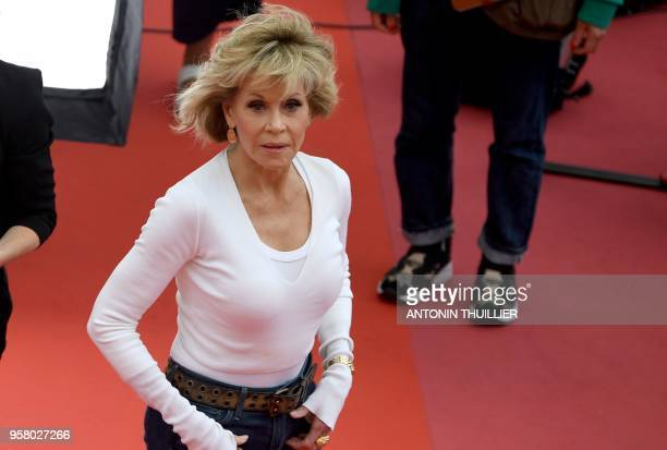 US actress Jane Fonda takes part in the shooting of a promotional event on the red carpet outside the Festival's Palace on May 13 2018 on the...