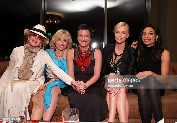 Actress Jane Fonda, V-Day board Member Carol Blacke writer Eve Ensler, actresses Charlize Theron and Rosario Dawson attend Eve Ensler and V-Day...