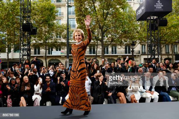 Actress Jane Fonda walks the runway during the Le Defile L'Oreal Paris Spring Summer 2018 show as part of Paris Fashion Week at Avenue des...