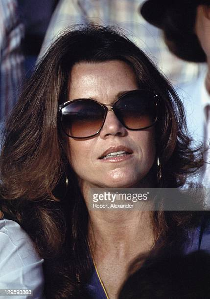 Actress Jane Fonda watches the liftoff of the Space Shuttle Challenger carrying the first woman astronaut Sally Ride into space on June 18 1983 in...