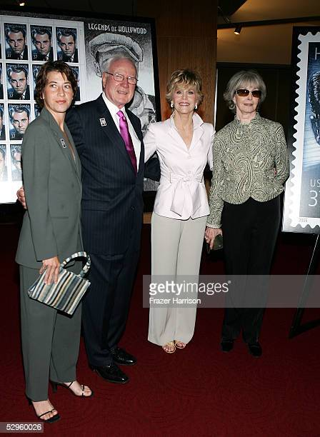 Actress Jane Fonda with her daughter Vanessa Vadim Vice Chairman of US Postal service John F Walsh and Shirlee Fonda attend the Henry Fonda...