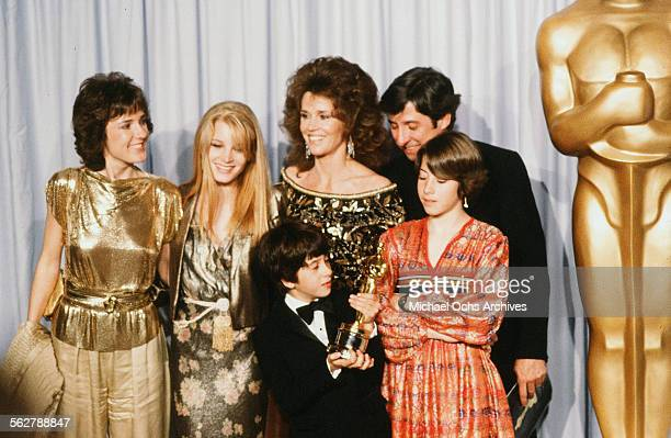 Actress Jane Fonda with husband Tom Hayden and family Amy Fonda Bridgette Fonda Troy Garity Vanessa Vadim poses backstage after accepting her father...