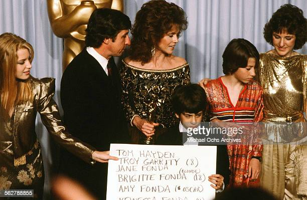 Actress Jane Fonda with husband Tom Hayden and family Bridgette Fonda Troy Garity Vanessa Vadim and Amy Fonda poses backstage after accepting her...