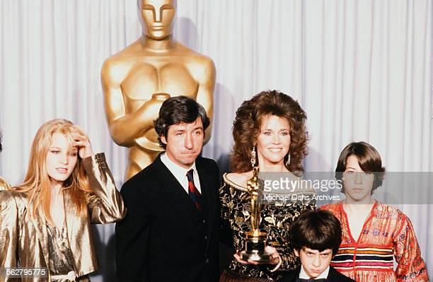 Actress Jane Fonda with husband Tom Hayden and family Bridgette Fonda Troy Garity Vanessa Vadim poses backstage after accepting her father Henry...