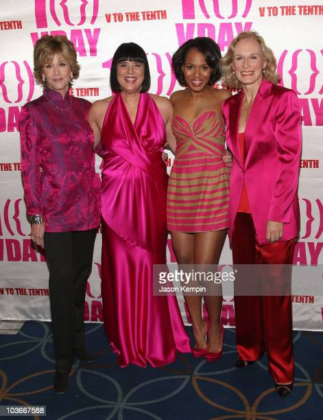 Actress Jane Fonda writer Eve Ensler actors Kerry Washington and Glenn Close attend VDay's V to the Tenth NYC Kickoff to New Orleans at Hammerstein...