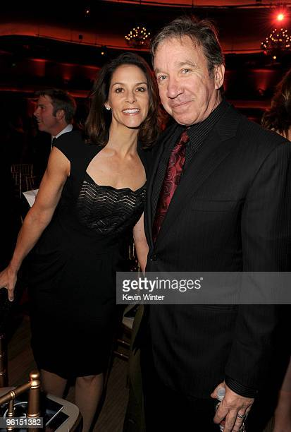 Actress Jane Hajduk and actor Tom Hanks attend the 2010 Producers Guild Awards held at Hollywood Palladium on January 24 2010 in Hollywood California