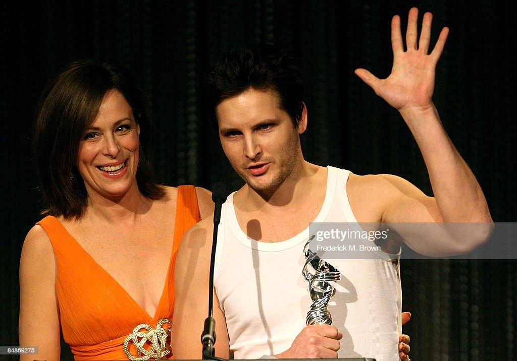 Actress Jane Kaczmarek and actor Peter Facinelli speak
