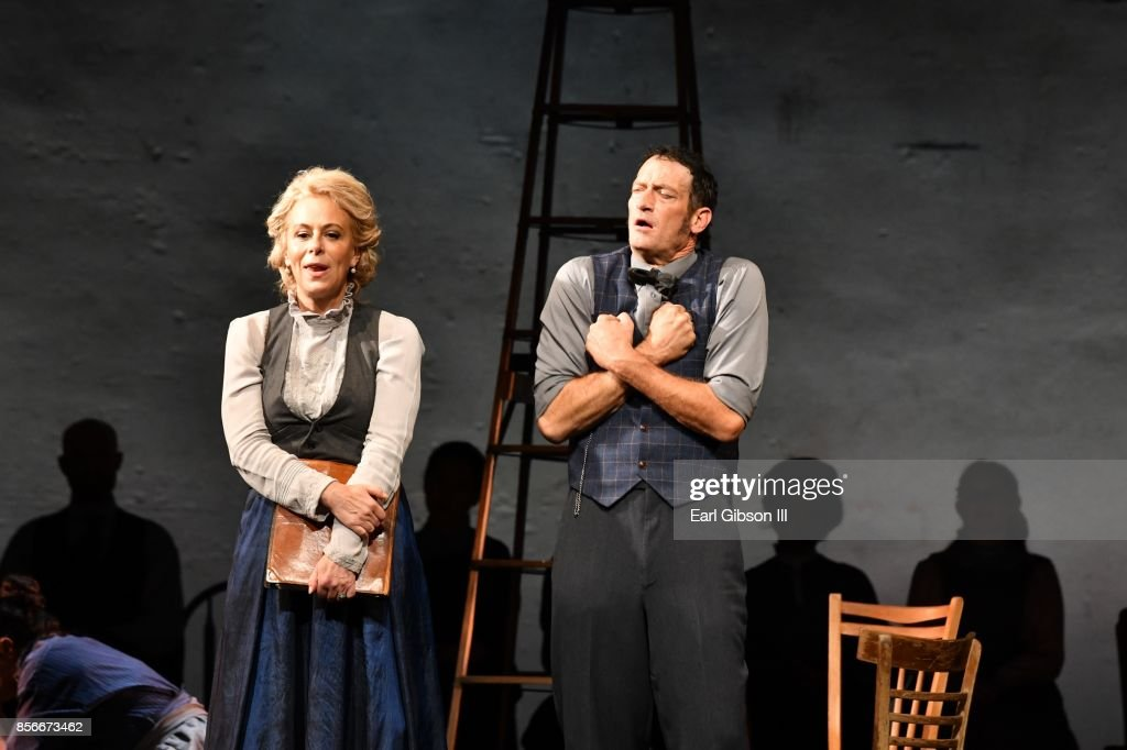 Actress Jane Kaczmarek (Left) performs onstage on Opening Night at the Pasadena Playhouse and Deaf West Theatre's 'Our Town' at Pasadena Playhouse on October 1, 2017 in Pasadena, California.