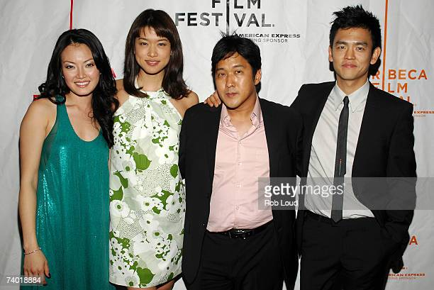 "Actress Jane Kim, actress Grace Park, director Michael Kang and actor John Cho arrive at the premiere of ""West 32nd"" at the 2007 Tribeca Film..."