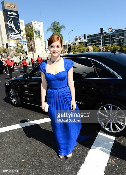 Actress Jane Levy arrives at Audi at The 64th Primetime Emmy Awards at Nokia Theatre LA Live on September 23 2012 in Los Angeles California