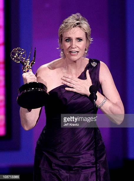 Actress Jane Lynch accepts award onstage at the 62nd Annual Primetime Emmy Awards held at the Nokia Theatre LA Live on August 29 2010 in Los Angeles...