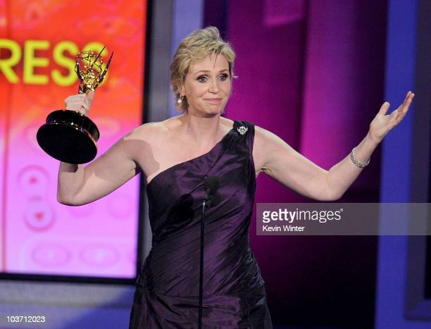 Actress Jane Lynch accepts the Outstanding Supporting Actress in a Comedy Series award onstage at the 62nd Annual Primetime Emmy Awards held at the...