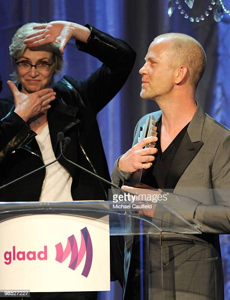 Actress Jane Lynch and Glee show creator Ryan Murphy onstage at the 21st Annual GLAAD Media Awards held at Hyatt Regency Century Plaza Hotel on April...
