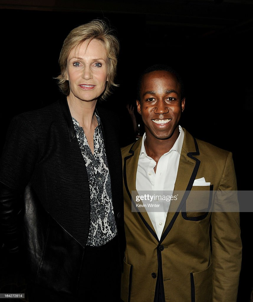 Actress Jane Lynch (L) and honoree Lenworth Poyser pose at 'An Evening' benifiting The L.A. Gay & Lesbian Center at the Beverly Wilshire Hotel on March 21, 2013 in Beverly Hills, California.
