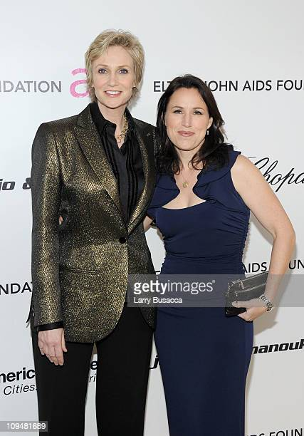 Actress Jane Lynch and wife Lara Embry arrive at the 19th Annual Elton John AIDS Foundation Academy Awards Viewing Party at the Pacific Design Center...