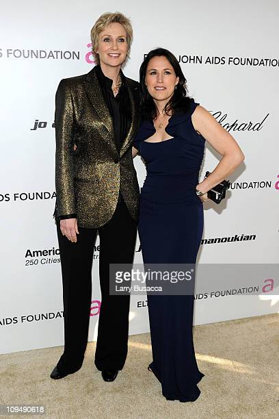 Actress Jane Lynch and wife Lara Embry attend at the 19th Annual Elton John AIDS Foundation Academy Awards Viewing Party at the Pacific Design Center...