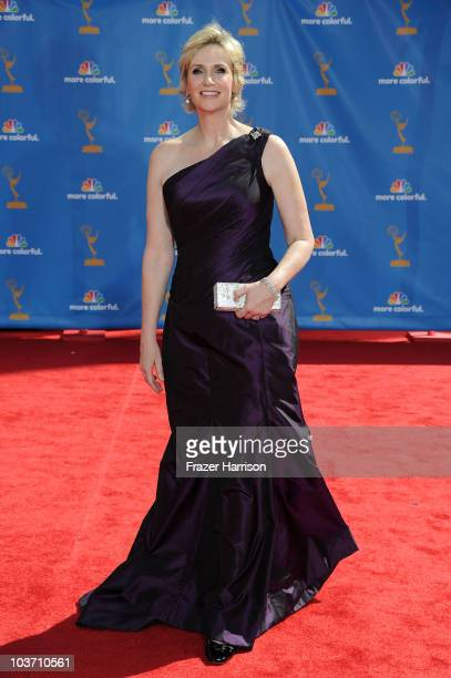 Actress Jane Lynch arrives at the 62nd Annual Primetime Emmy Awards held at the Nokia Theatre LA Live on August 29 2010 in Los Angeles California