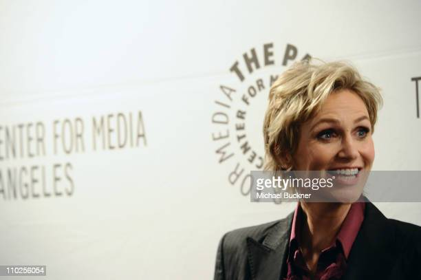 Actress Jane Lynch arrives at the Paley Center for Media's Paleyfest 2011 Event honoring Glee at the Saban Theatre on March 16 2011 in Beverly Hills...