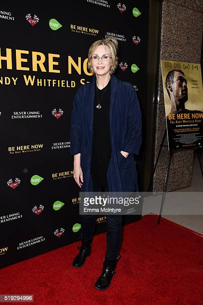 Actress Jane Lynch arrives at the premiere of Silver Lining Entertainment's 'Be Here Now' at UTA Theater on April 5 2016 in Los Angeles California