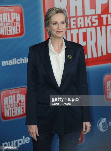 Actress Jane Lynch arrives for the Premiere Of Disney's 'Ralph Breaks The Internet' held at the El Capitan Theater on November 5 2018 in Los Angeles...