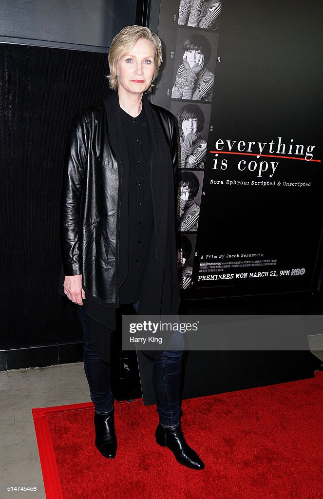 Actress Jane Lynch attends the premiere of HBO's 'Everything Is Copy' at TCL Chinese Theatre on March 10, 2016 in Hollywood, California.