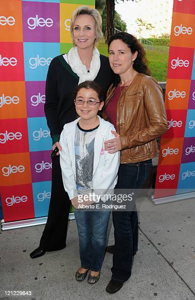 Actress Jane Lynch Haden Collette RyanEmbry and Dr Lara Embry attend Fox's Glee SingALong event at Santa Monica High School on August 15 2011 in...