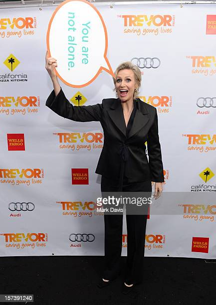 Actress Jane Lynch poses in the Getty Images and Wonderwallcom photo booth and green room at Trevor Live honoring Katy Perry and Audi of America for...
