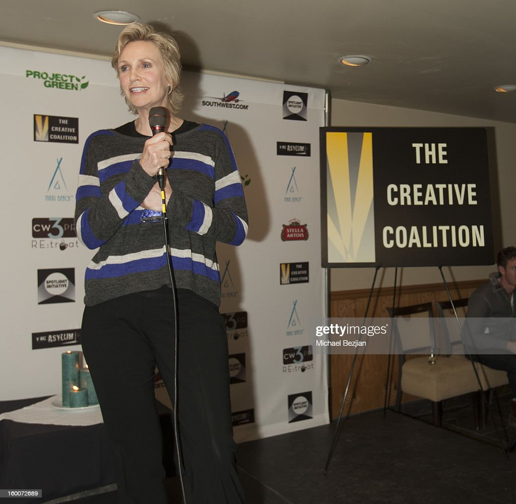 Actress Jane Lynch speaks at 2013 Creative Coalition Spotlight Initiative Gala Awards Dinner - 2013 Sundance Film Festival at The Sky Lodge on January 19, 2013 in Park City, Utah.