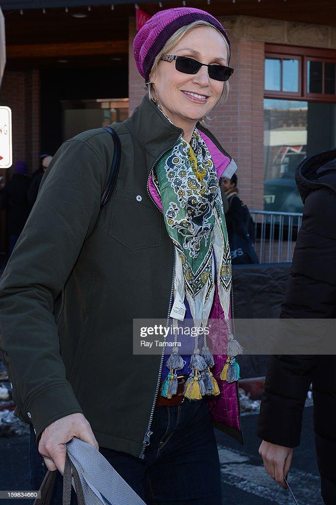Actress Jane Lynch walks in Park City on January 20, 2013 in Park City, Utah.