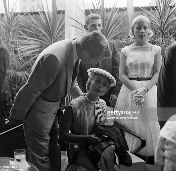 Actress Jane Powell and husband Patrick Nerney attend Helen Hayes party in Los AngelesCA
