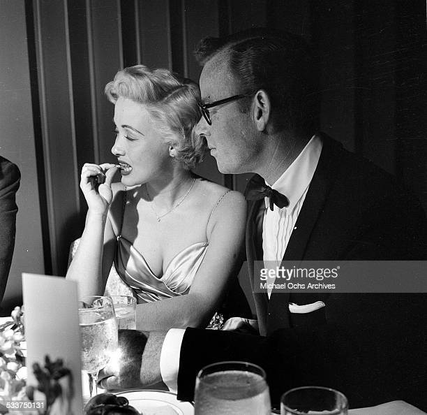 Actress Jane Powell and husband Patrick Nerney attend the Academy Awards dinner party in Los AngelesCA