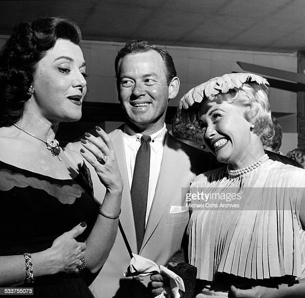 Actress Jane Powell and husband Patrick Nerney talks with actress Ann Rutherford as they attend Helen Hayes party in Los AngelesCA
