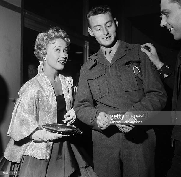 Actress Jane Powell greets fans during the premiere of Knights of the Round Table in Los AngelesCA