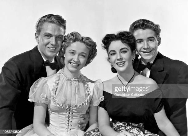 Actress Jane Powell Robert Stack Elizabeth Taylor and Scotty Beckett in a scene from the movie A Date with Judy
