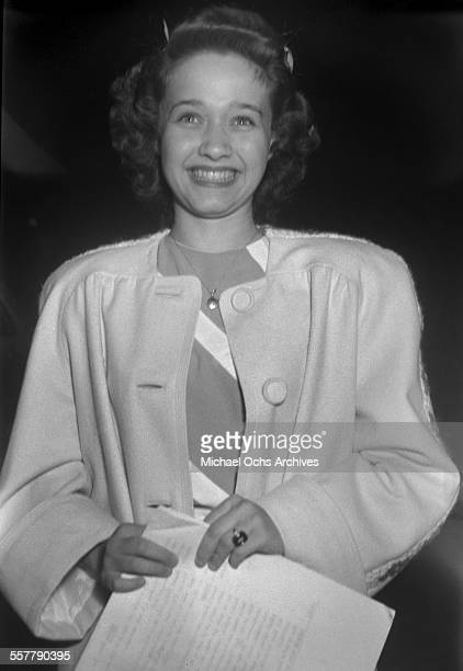 Actress Jane Powell smiles as she poses in Los Angeles California