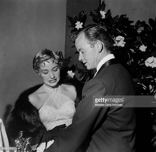 Actress Jane Powell with Patrick Nerney attend The Academy Awards in Los AngelesCA