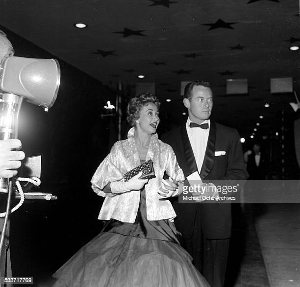 Actress Jane Powell with Patrick Nerney attend the premiere of Knights of the Round Table in Los AngelesCA