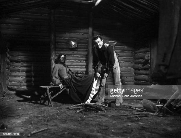 Actress Jane Russell and actor Clark Gable in a scene from the 20th Century Fox movie The Tall Men circa 1955