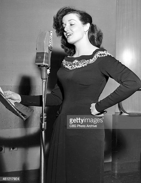 Actress Jane Russell appears on the CBS radio program THE JACK SMITH SHOW on October 29 in Los Angeles California