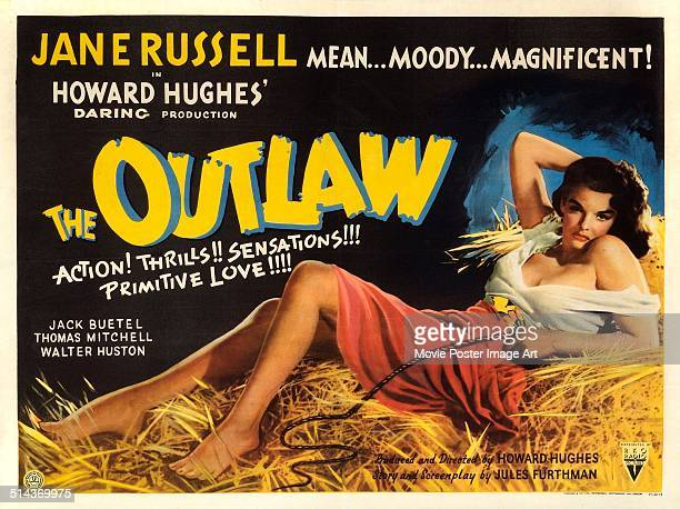 Actress Jane Russell features on a poster for the movie 'The Outlaw', 1943.