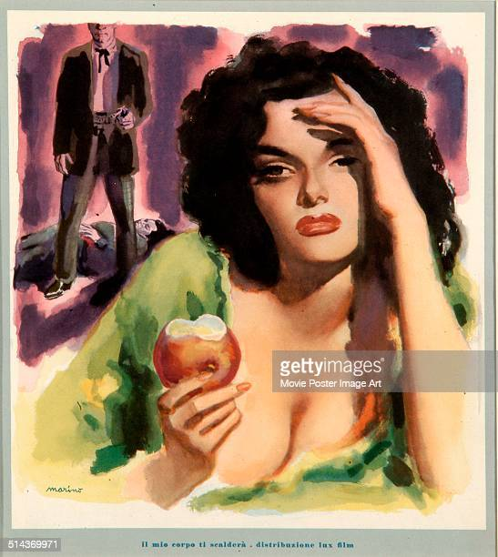 Actress Jane Russell features on Italian poster by Marino for the movie 'The Outlaw' titled 'Il mio corpo ti scalderà' 1943