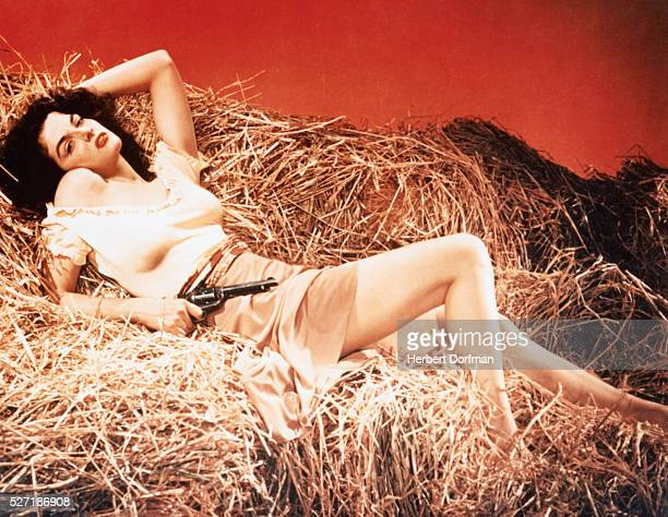 Actress Jane Russell portrays Billy the Kid's girlfriend, Rio, in the 1943 motion picture The Outlaw.