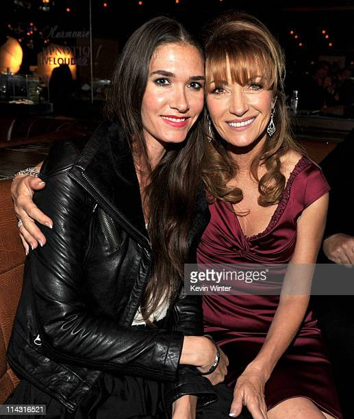 Actress Jane Seymore and her stepdaughter Jenni Flynn pose at the premiere of IFC Films' Love Wedding Marriage at the Beverly on May 17 2011 in West...